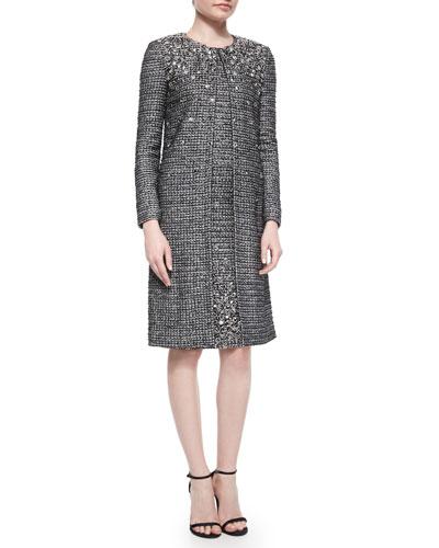Folded Paillette Beaded Tweed Topper Coat & Sheath Dress