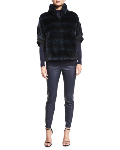 Striped Rabbit Fur Zip Jacket, Light Gauge Knit Funnel-Neck Sweater & Stretch Napa Leather Cropped Leggings