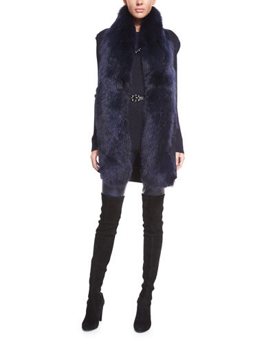 Knit Vest with Detachable Fox Fur Collar, Long-Sleeve Tunic, Thin Leather Belt & Leather Cropped Leggings