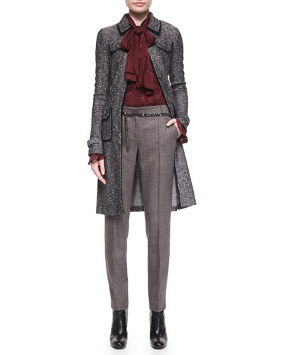 Flecked Inlay-Knit Topper Coat, Blossom Fil Coupe Scarf Blouse, Metal Curb-Chain Hip Belt & Jennifer Speckled Tweed Ankle Pants