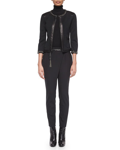 Curb Chain/Leather Trimmed Jacket, Ribbed Knit Sleeveless Turtleneck, Metal Curb-Chain Hip Belt & Sarong-Style Cropped Pants