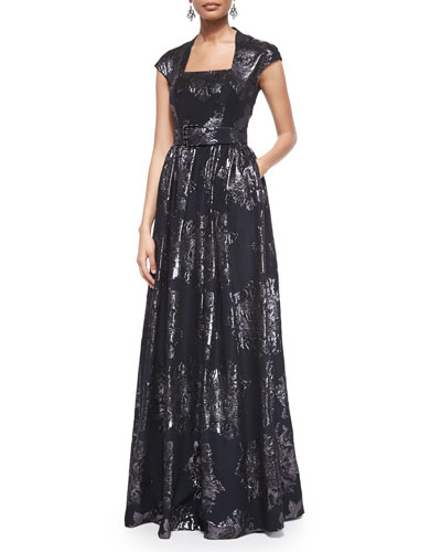 Metallic Rose Jacquard Full Gown & Crystal Octagon Drop Earrings