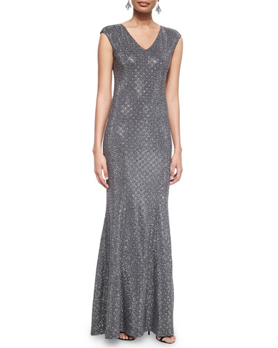 Cap-Sleeve Floral Lattice Sequined Gown & Crystal Octagon Drop Earrings