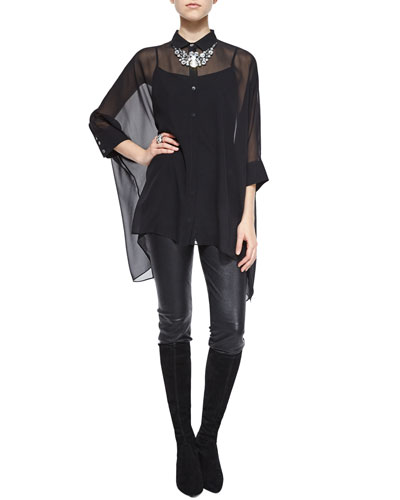 Silk 3/4-Sleeve Georgette Blouse, Stretch Napa Cropped Pants, Crystal Octagon Ring & Necklace