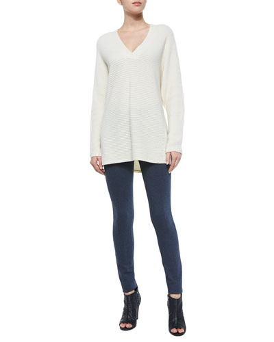 Traveling V-Neck Ribbed Sweater & Skinny Stretch Ski Pants