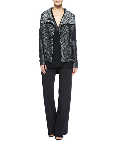 Leather-Sleeve Draped Jacket & Stretch Wide-Leg Trousers