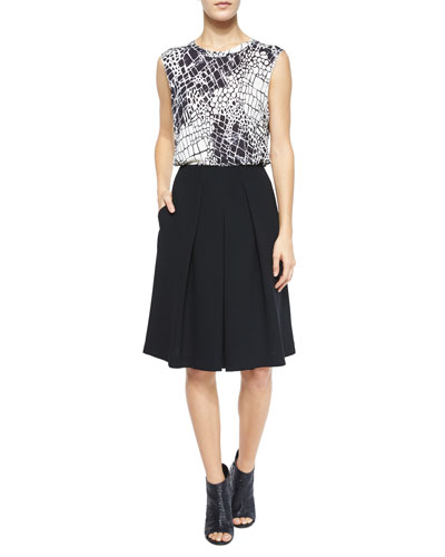 Croc-Print Graphic Top & Inverted-Pleat A-Line Skirt