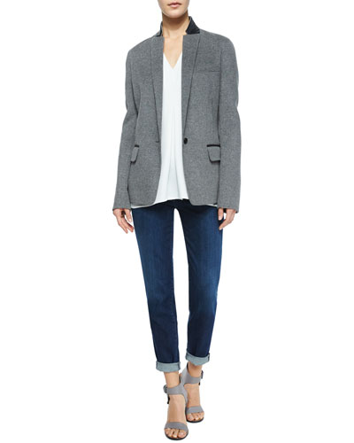 Leather-Trim Wool Blazer & Mason Five-Pocket Cuffed Jeans