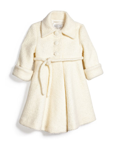 Fit-and-Flare Bouclé Peacoat, Ivory