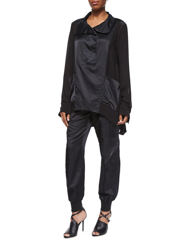 Funnel-Neck Pullover Tunic & Tissue Sport Zip-Cuff Pants