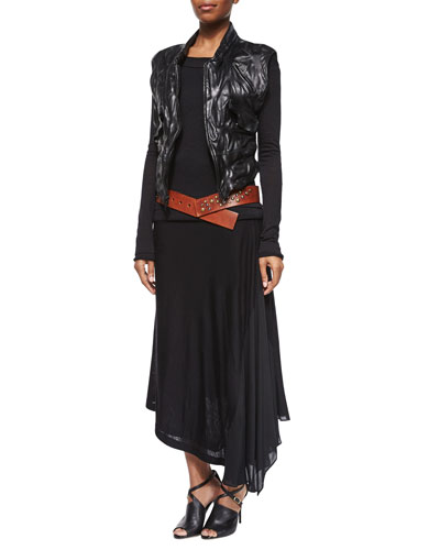 Leather Zip-Front Vest, Long-Sleeve Double-Layer Top, Double-Layer Long Pull-On Skirt & Studded Wide Hip Belt