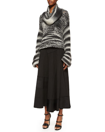 Bicolor Oversized Cowl-Neck Sweater & Paneled Raw-Edge Detailed Wrap Skirt