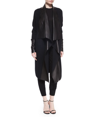 Draped Leather & Knit Coat, Paneled Jersey Crewneck Top & Stretch Cashmere-Blend Sweatpants