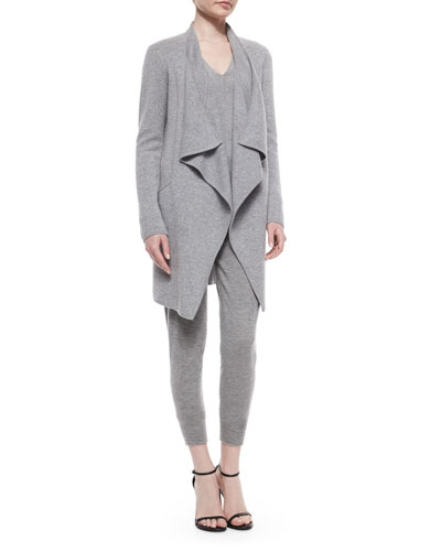 Drape-Front Cashmere-Blend Coat, Long-Sleeve Cold-Shoulder Top & Stretch Cashmere-Blend Sweatpants