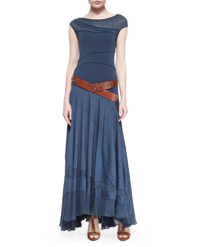 Asymmetric Paneled Maxi Dress & Studded Wide Hip Belt, Rust