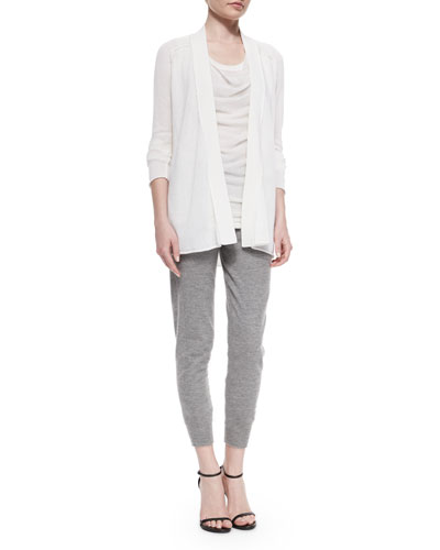 Textured Cashmere-Blend Cardigan, Draped Layered-Front Top & Stretch Cashmere-Blend Sweatpants