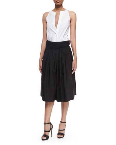 Sleeveless Split-Neck Bodysuit & Full Skirt w/Ruched Waistband