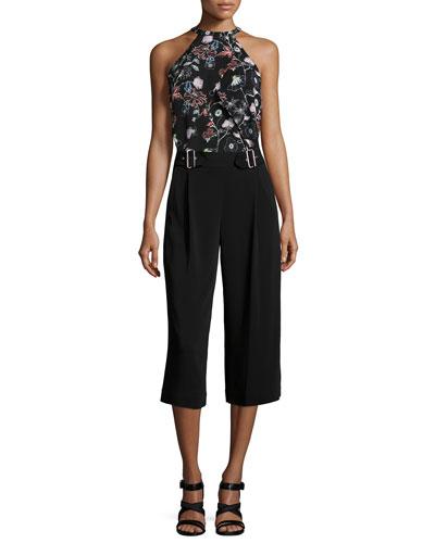 Iggy Floral-Print Halter Top & Beals Belted Gaucho Pants