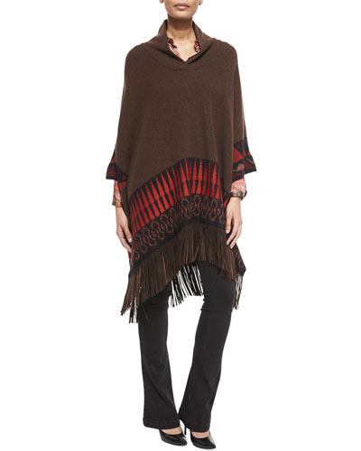 Wool-Blend Poncho with Suede Fringe, Silk Paisley-Print Blouse & Lace-Up Front Denim Flared Jeans
