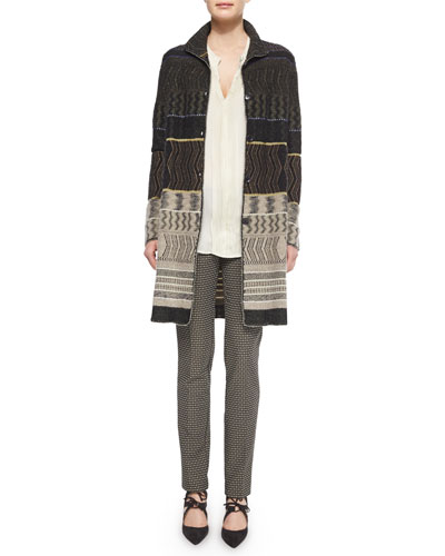 Patchwork Cashmere-Blend Zigzag-Print Sweater Coat, Split-Neck Crystal-Pleated Tunic & Medallion-Print Skinny Cropped Pants