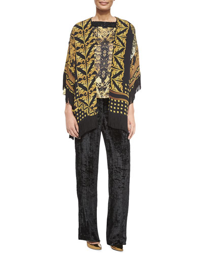 Printed Silk Fringe Jacket, Bead Embellished Silk Top & Chevron Velvet Pull-On Pants