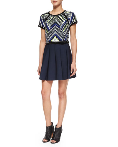 Beaded Bora Cropped Top & Zoey Pleated A-Line Skirt