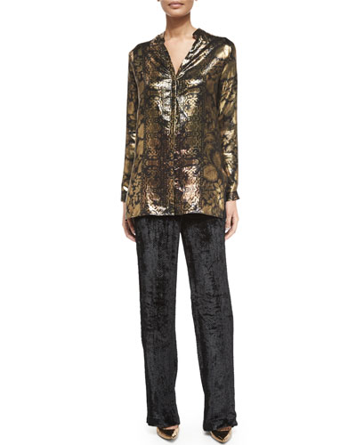 Printed Metallic Tunic Top & Chevron Velvet Pull-On Pants