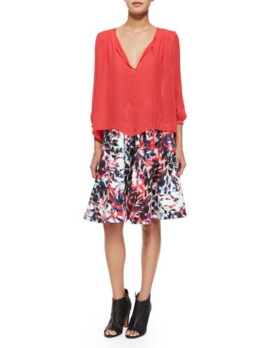 Safara Tie-Front Blouse & Welch Cosmic A-Line Skirt