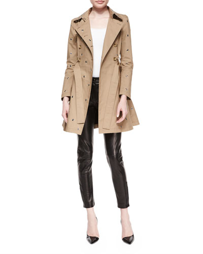 Grommet Full Skirt Trench Coat & Leather-Front Woven-Back Skinny Pants