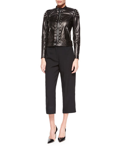Grommet Pieced Leather Jacket & High-Waist Cropped Pants