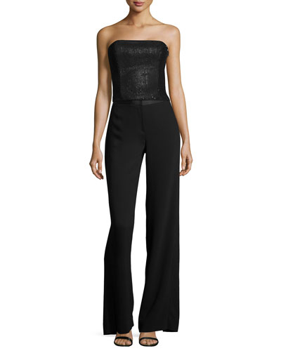 Strapless Sequined Top & Wide-Leg Trouser Pants W/ Back Overlay