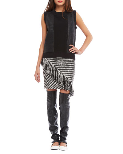 Sleeveless Embossed Cable-Link Tank & Striped Skirt w/Fringe Detail