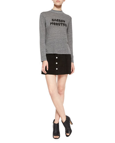 Sacred Monster Slub-Jersey Tee & The Gove Suede Skirt