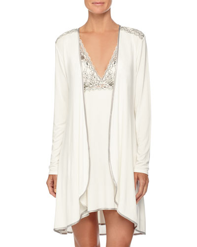 Autumn Bride Lace Short Robe & Chemise, Ivory/Silver