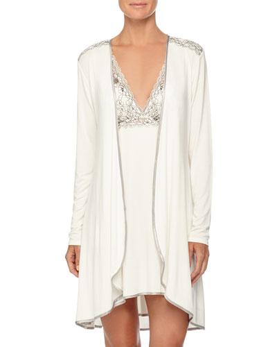 Autumn Bride Lace Short Robe & Chemise, Ivory/Silver