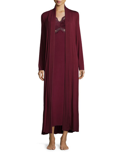 Take Me Away Belted Long Robe & Belle Epoque Long Gown, Raisin