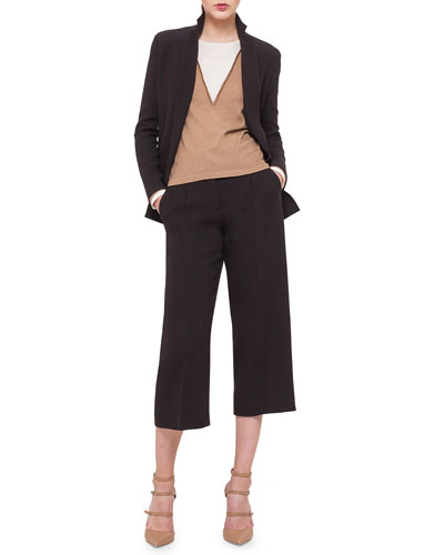 Double-Breasted Crepe Jacket, Bicolor Silk-Inset Cashmere Top & Double-Faced Pleated Culottes