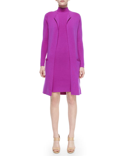 Long-Sleeve Open-Front Long Cardigan & Sleeveless Mock-Neck Dress