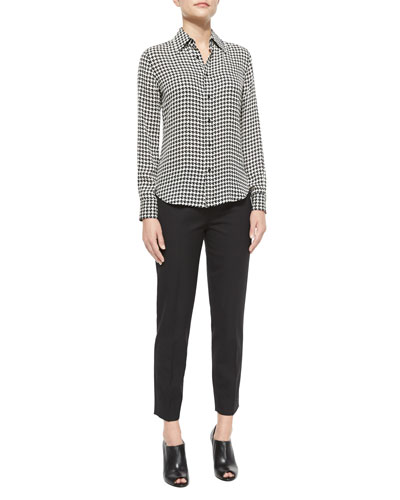 Long-Sleeve Houndstooth Chiffon Blouse & Wool Side-Zip Ankle Pants