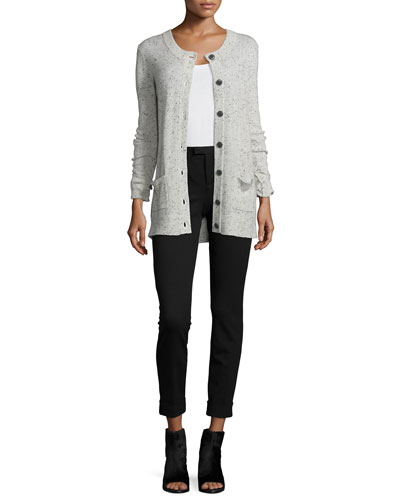Cashmere Button-Front Cardigan & Slim Cropped Ponte Pants