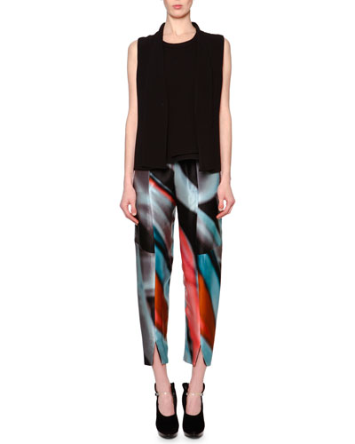 Fold-Over-Collar V-Neck Gilet & Printed Silk High-Waist Trousers
