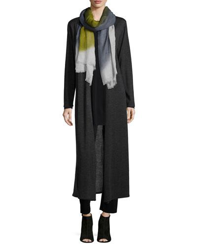 Merino Wool Maxi Cardigan, Silk Jersey Long-Sleeve Tunic, Celestial Gauze Wrap Scarf & Heavyweight Rayon Skinny Pants, Women