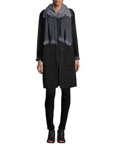 Alpaca Double-Face Knee-Length Coat, Jersey Cozy Tee, Cashmere/Wool Scarf W/ Fringe & Slim Ponte Pants, Women