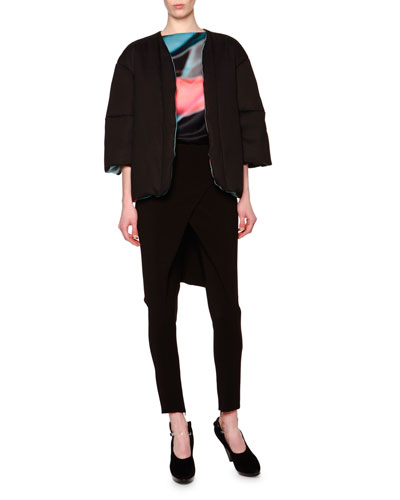 Reversible Down Topper Jacket & Overskirt Zip-Cuff Ankle Pants