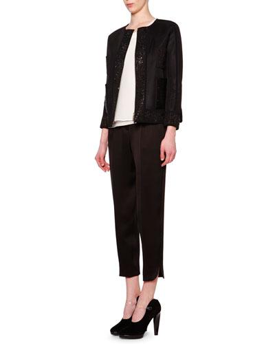 Tech Jacket & High-Waist Pleat-Front Pants