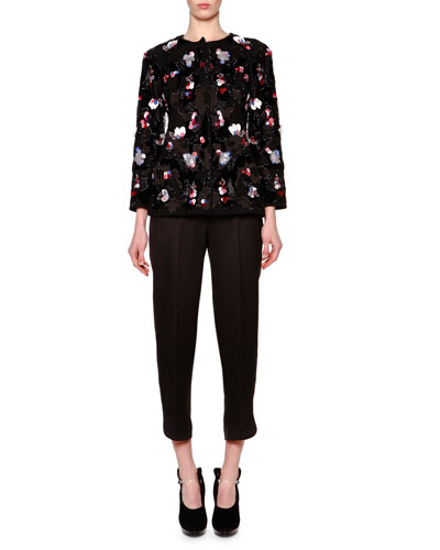 Floral Paillette Velvet Jacket & High-Waist Pleat-Front Pants