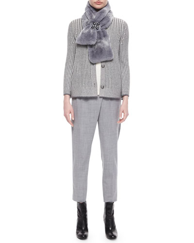 Textured Stripe Cardigan & Classic Shell with Tulip Overlay