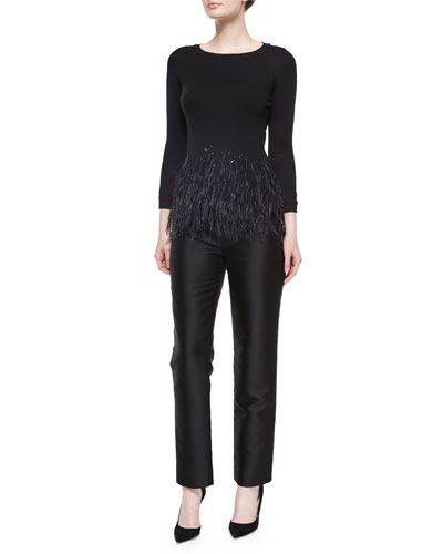 Feather Trimmed Knit Top & Skinny Trouser Pants