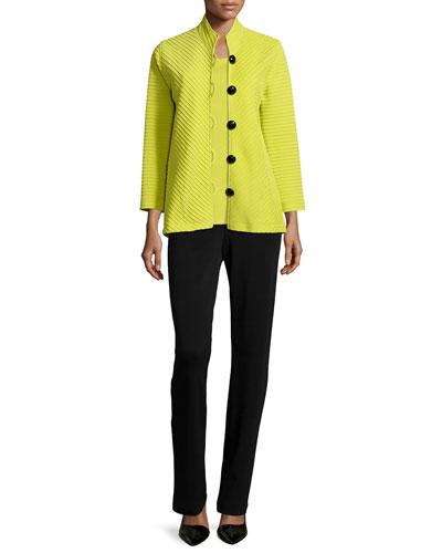 Wool Ottoman Easy Jacket, Sleeveless Wool Long Tank & Flat Knit Wool Pants
