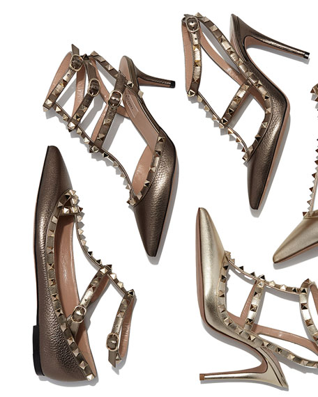 Valentino Rockstud Metallic Leather Sandal, Sasso